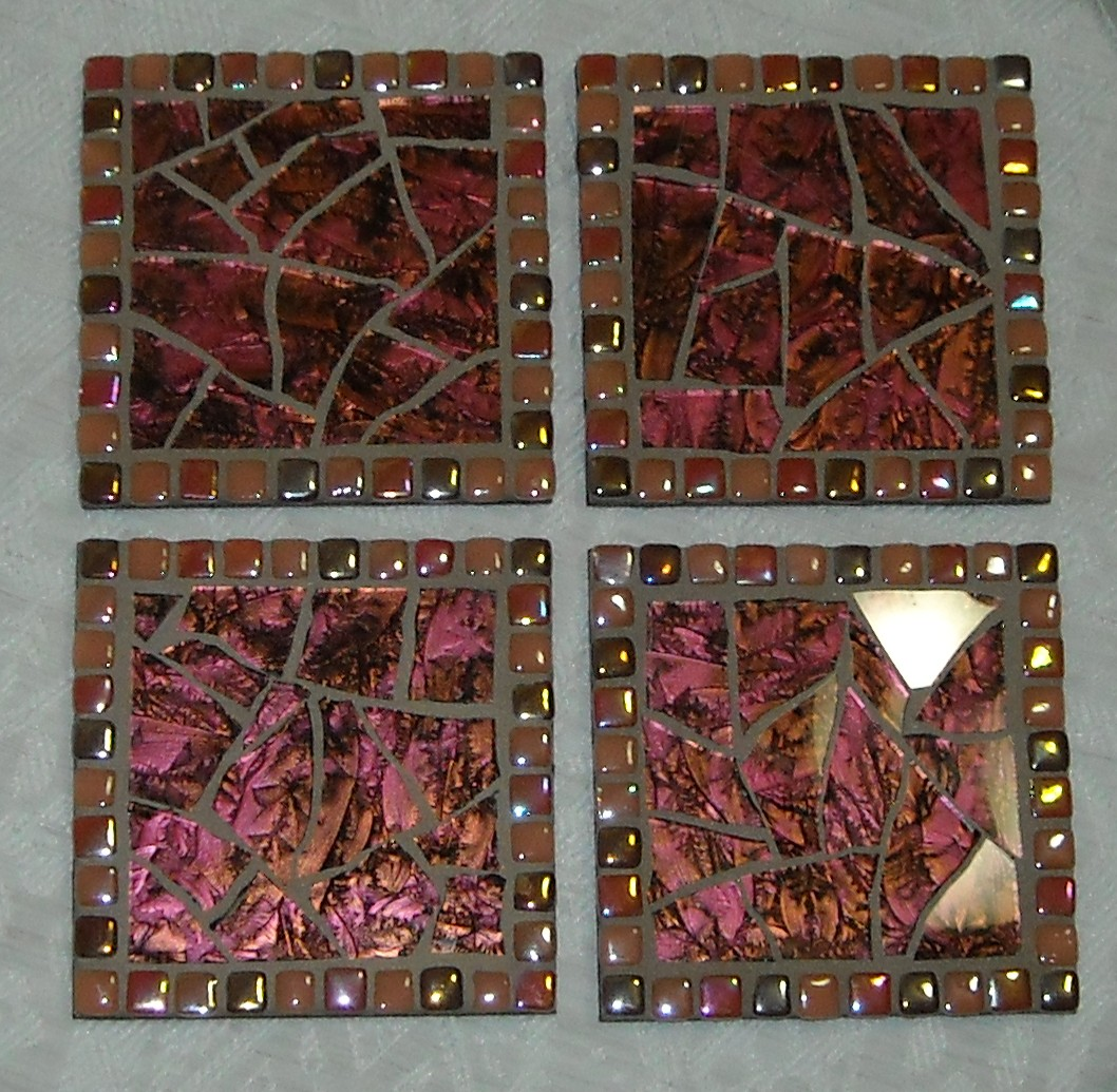 Coral Van Gogh glass coasters