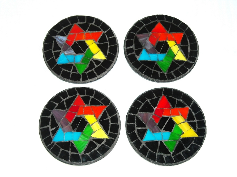 Mosaic coaster rainbow star-of-david
