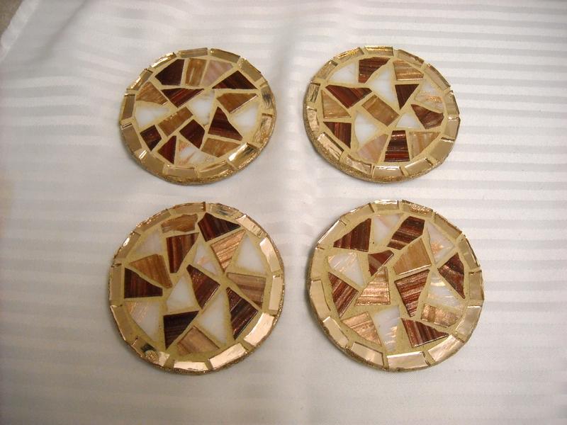 Mosaic coasters Bronze/Gold
