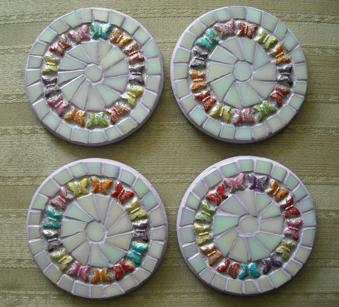 Mosaic coasters White/Lavender Butterflies