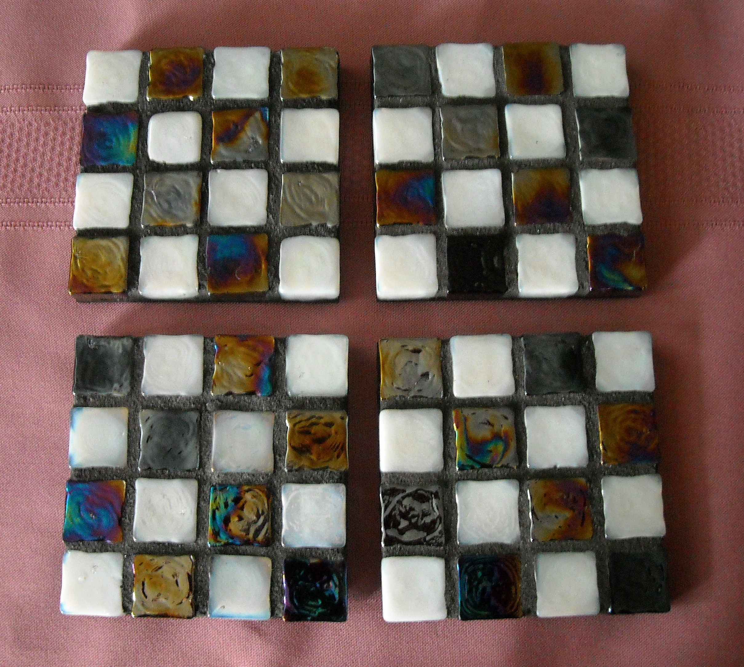 black-white glass cube coasters