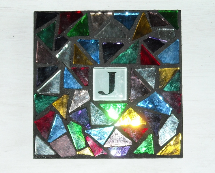 Mosaic coaster Initial in Multi Mirror