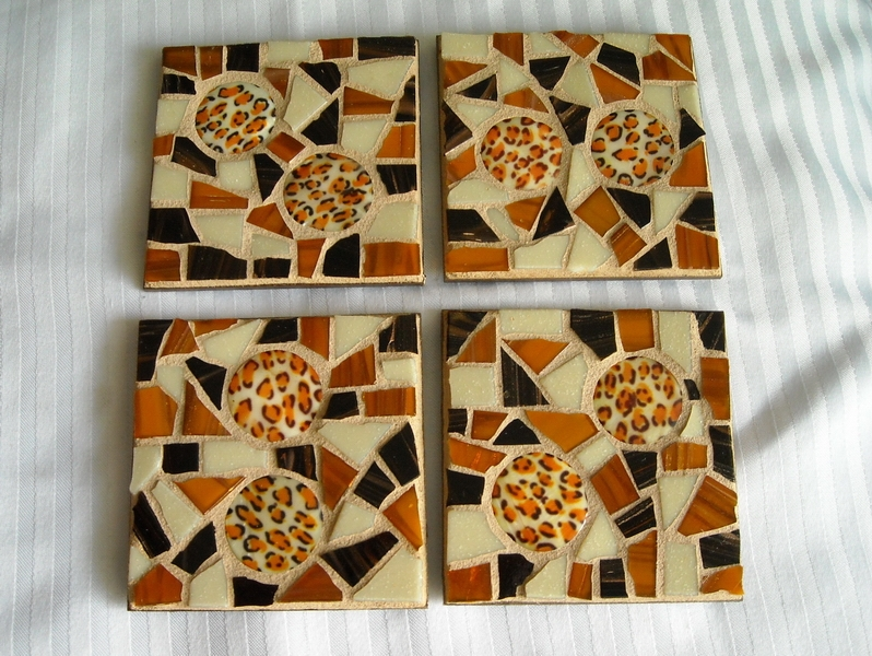 Mosaic coasters Cream Leopard Themed