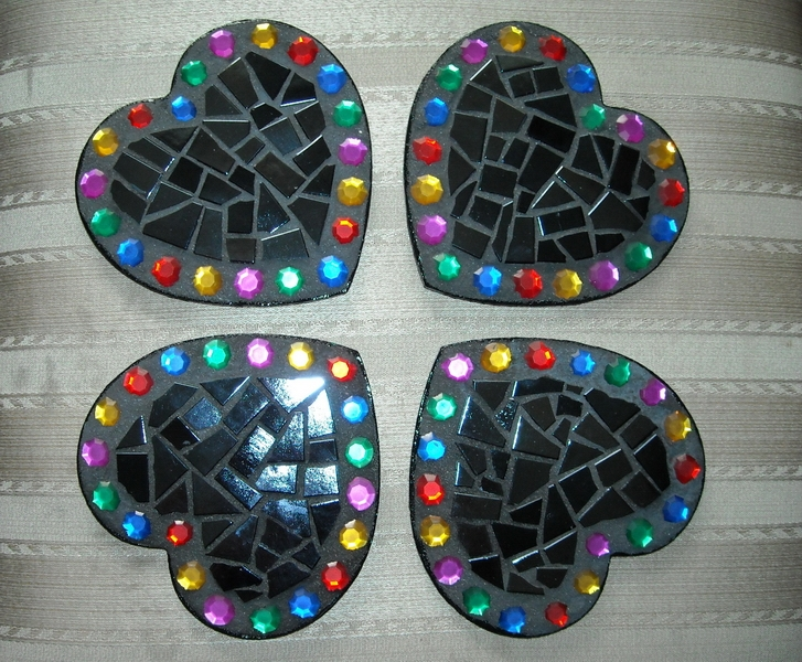 Mosaic coasters Black Jewelled Hearts