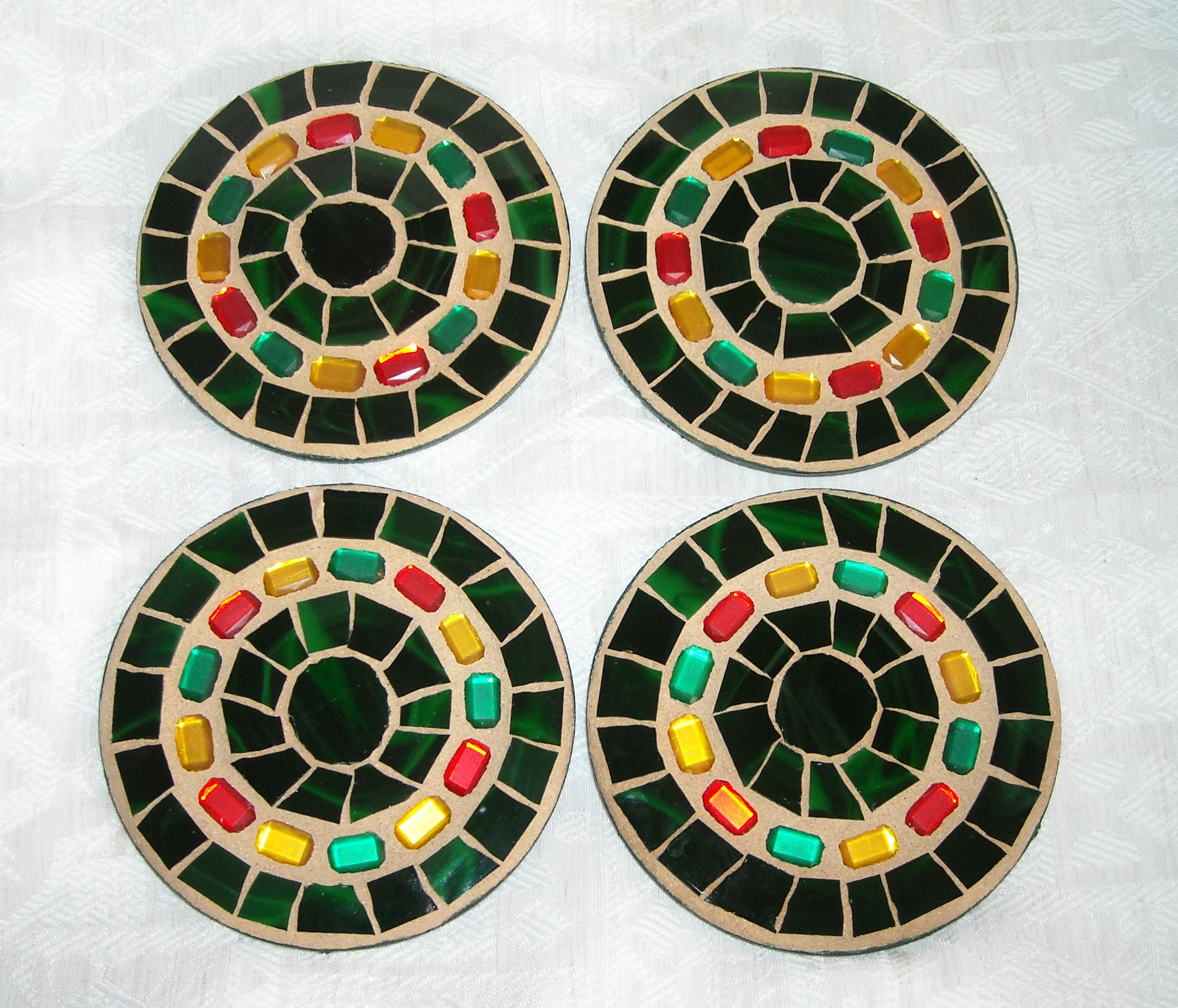 Forest green jewel coasters