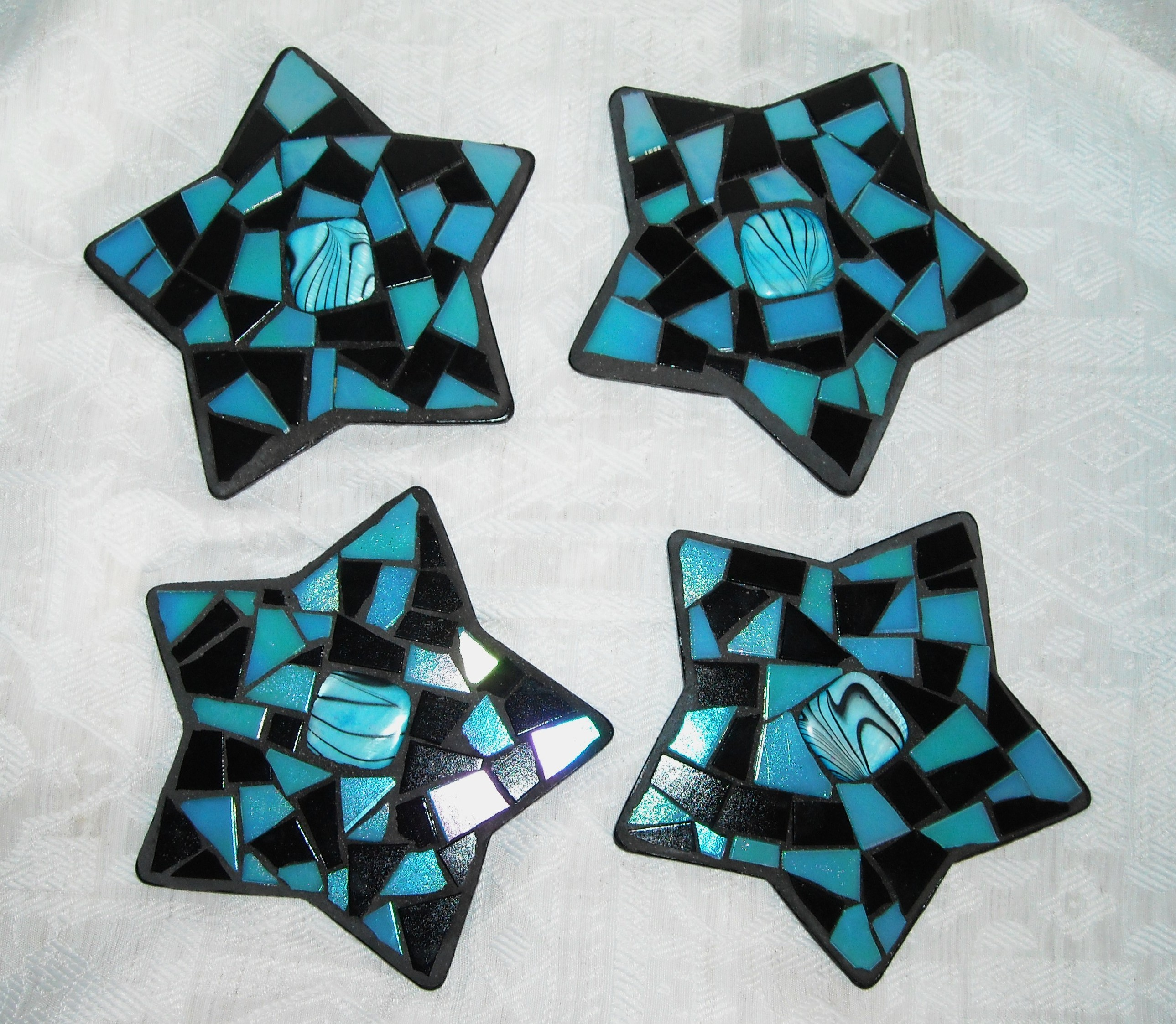 Turquoise black star coasters