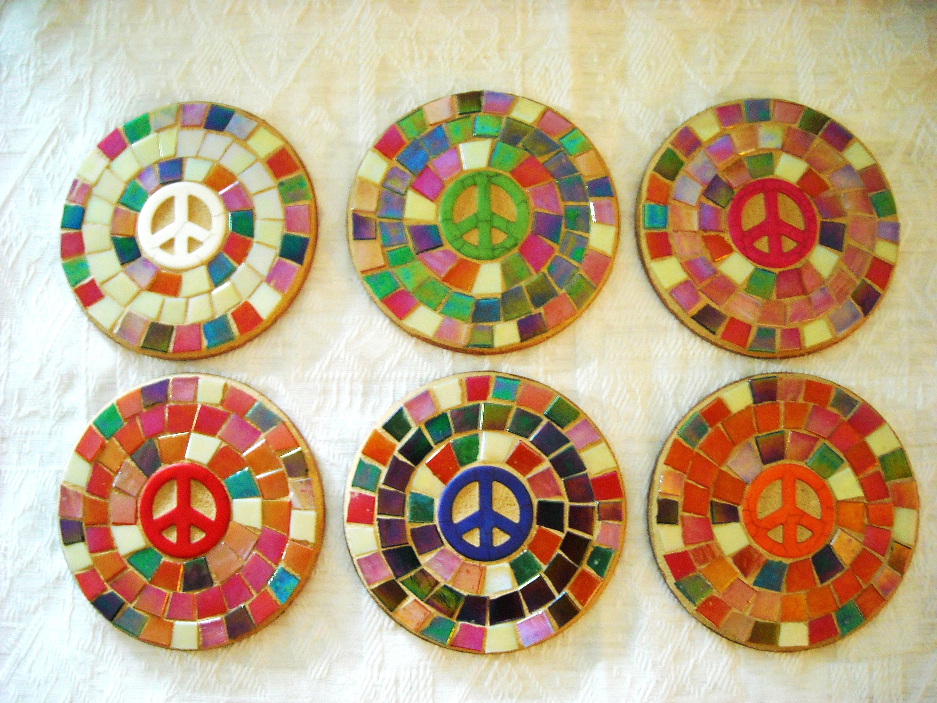 Multi colour peace coasters - set of 6