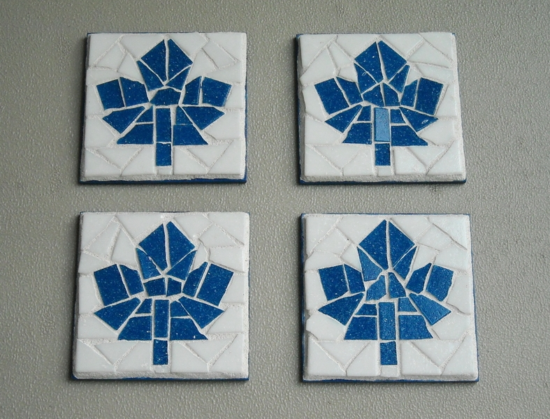 Mosaic coasters Blue Maple Leafs