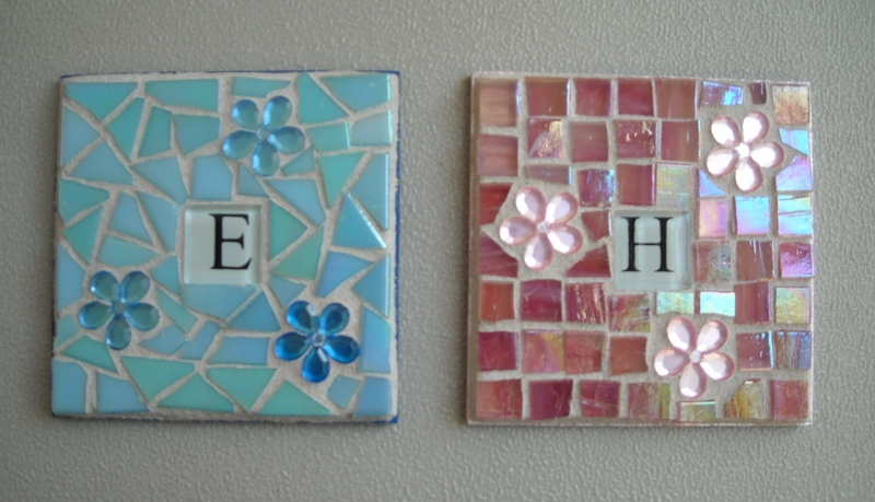 Mosaic coasters Initial in aqua and pink