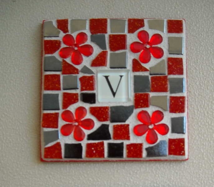 Mosaic coaster Initial in red