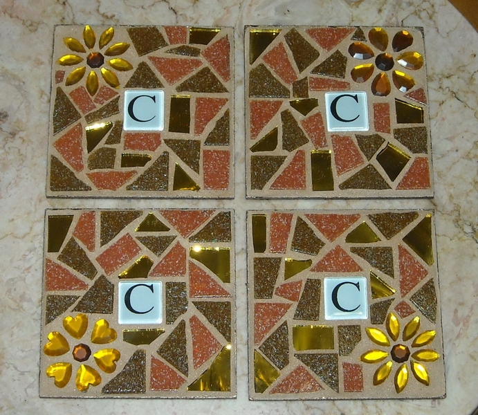 Mosaic coasters Initial in Autumn Flowers
