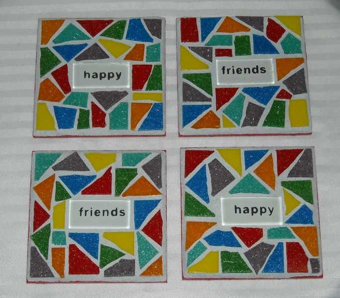 Mosaic coasters Multi Happy Friends
