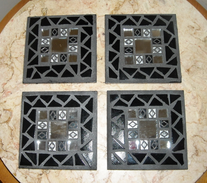 Mosaic coasters Black/Mirror