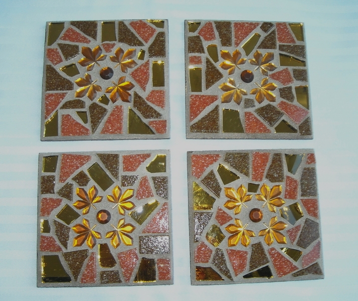 Mosaic coasters Autumn Leaves