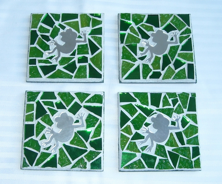 Mosaic coasters Green Froggies