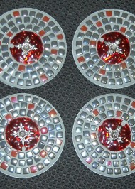 Grey red kismet coasters