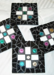 Mosaic coasters Black with Floral Insets