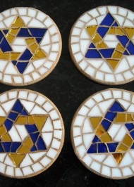 Mosaic coaster blue/gold star-of-david