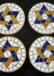 Mosaic coaster blue/gold star-of-david