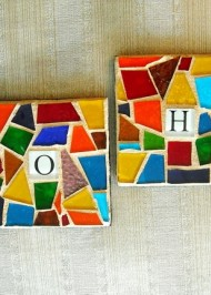 Mosaic coasters Rainbow Name