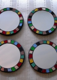 Mosaic coasters Rimmed Mirrors