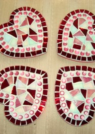 Mosaic coasters Red Hearts