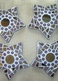 Mosaic coasters Purple Stars