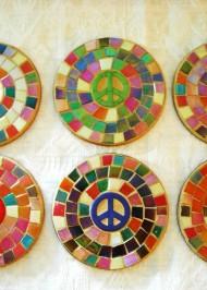 Multi colour peace coasters - set of 6