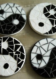 Mosaic coasters Black/White YinYang