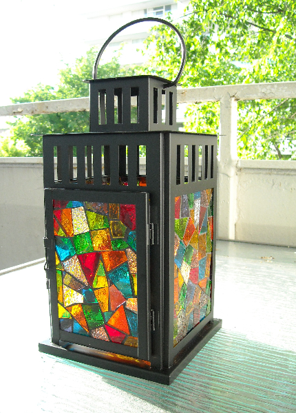 Mosaic stained glass lantern