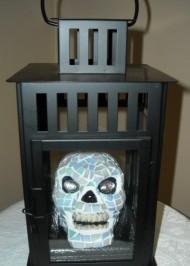 Mosaic skull lantern