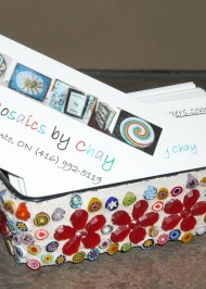 Mosaic millifiori business card holder