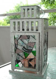 Mosaic stained glass steel lantern