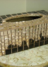 Mosaic tissue box Bronze