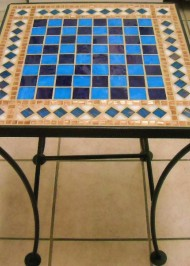 Mosaic Chess Table blue/purple