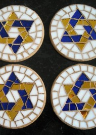 Mosaic Coasters Blue/Gold Star-of-David