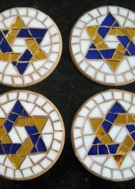 Mosaic Coasters Blue/Gold Star-of-David