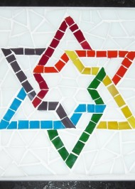 Mosaic Trivet Rainbow Star-of-David