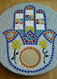 Mosaic Lazy Susan Hamsa