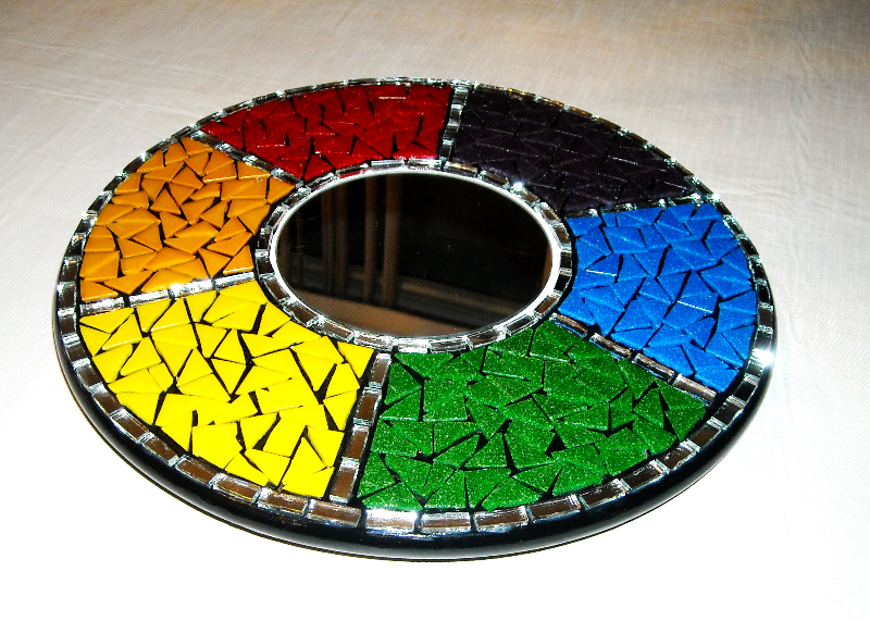 Mosaic rainbow lazy susan