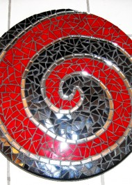 Mosaic spiral lazy susan black/red