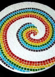 Mosaic rainbow spiral lazy susan
