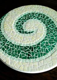 Mosaic lazy susan green spiral