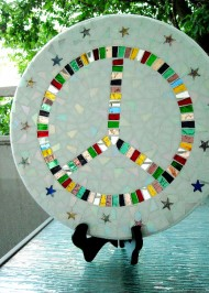 Mosaic lazy susan Peace Sign