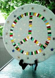 Mosaic lazy susan Peace Sign