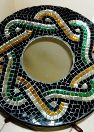 Mosaic Lazy Susan Roman Braid green-gold