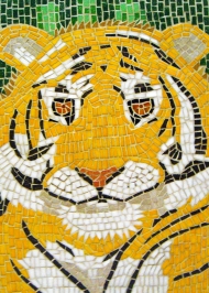 Mosaic tiger portrait