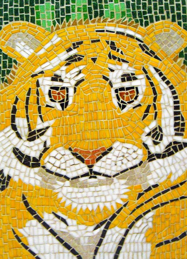 Mosaic tiger portrait