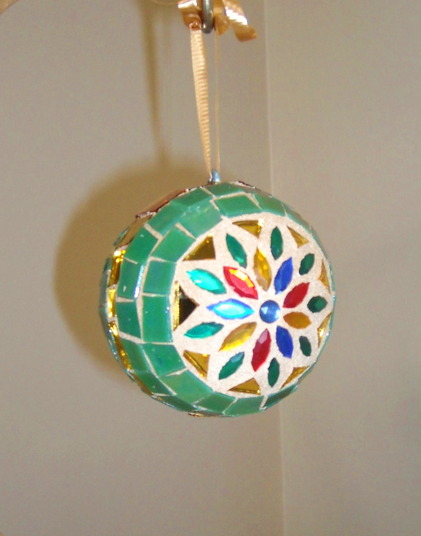 green-multi-jewel ornament