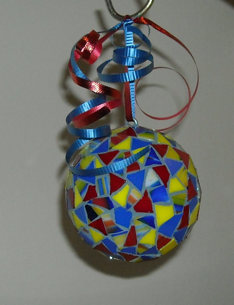 Blue red yellow ornament